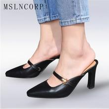 купить Size 34-43 New High Heels Women Slipper Pointed Toe Buckle Footwear Summer Fashion Brand Ladies Mules Shoes Style Outside Slides по цене 1847.89 рублей