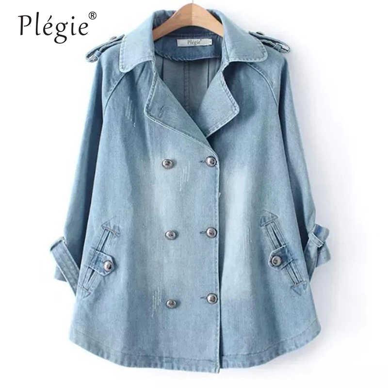 Plegie Denim Cape Mantel Weibliche Jacke Zweireiher Große Größe harajuku Jacken Frauen Windjacke A-linie Denim Basic Mäntel