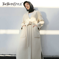 Twotwinstyle الدانتيل يصل الصوف المعاطف للنساء ارتفاع الخصر الانقسام جيوب كبيرة الخامس الرقبة ميدي طويل معطف أنثى الشتاء سميكة الأزياء
