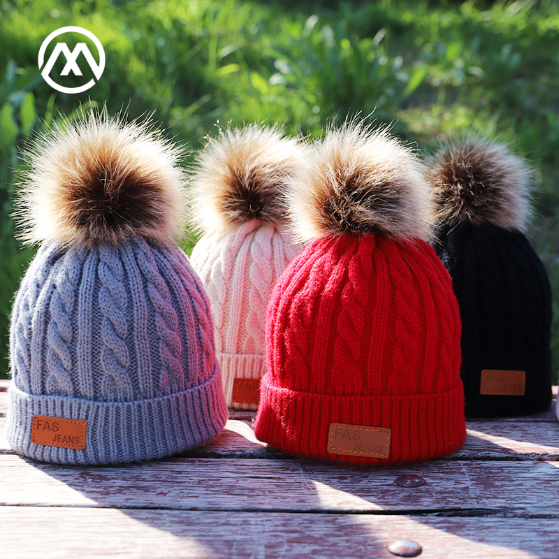 Solid Color Children's Knitted Cotton Hats Warm Pompoms Loose Caps Boys And Girls General Autumn And Winter Ski Beanies Skullies
