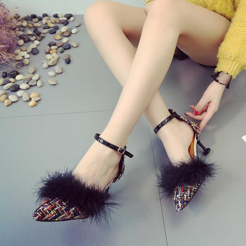 毛深いハイヒールの靴女性パンプスツイードバックルストラップポインテッドトゥ快適なサンダル 2019 春夏の宴会ブランド靴
