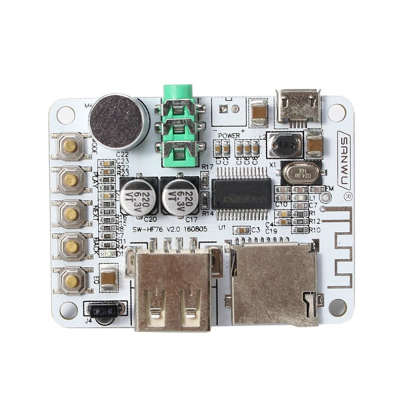 Upgrade Version Wireless bluetooth Audio Receiver Digital Amplifier Board With Remote Control And Microphone USB Port TF Card
