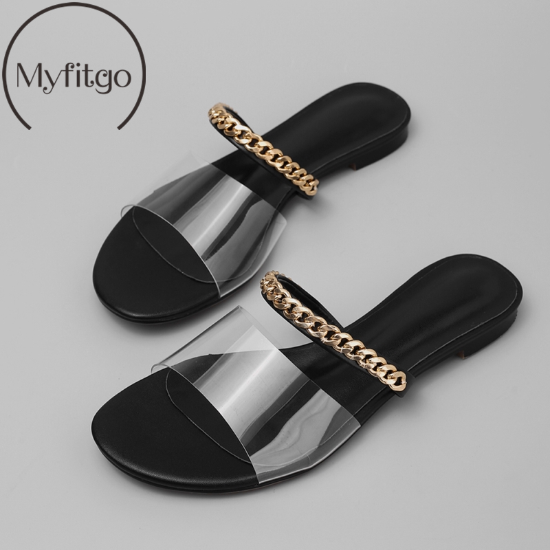 Myfitgo Chain Summer Flat Sandals PVC Women Slides on Slippers Casual Shoes Size 35 40 Lady