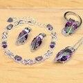 Criado Rainbow Fire místico Topaz 925 Prata Conjunto de Jóias Para As Mulheres Acessórios Do Casamento Brincos/Pingente/Colar/Anéis/pulseira