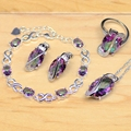 Mystic Rainbow Fire Created Topaz 925 Silver Jewelry Set For Women Wedding Accessories Earrings/Pendant/Necklace/Rings/Bracelet