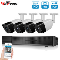 Wetrans CCTV System 1080P 3MP HD POE NVR 4CH Security Camera IP Audio Alarm Outdoor H.265+ Home Video surveillance kit CCTV Set