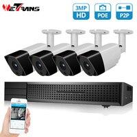 Wetrans CCTV системы 1080 P 3MP HD POE NVR 4CH безопасности камера IP аудио сигнал Открытый H.265 + дома товары теле и видеонаблюдения комплект