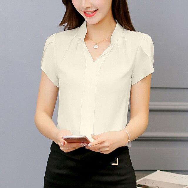 Chiffon Shirt Blusas Femininas Short Sleeve Tops 4