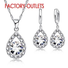 925 Sterling Silver Bridal Jewelry Sets Austrian Crystal Water Drop Necklaces Hoop Earrings Women Girls Engagement Anniversary(China)