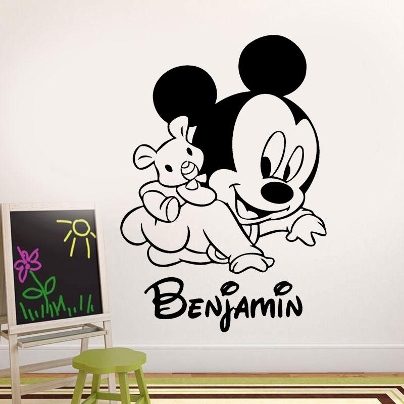 Personalised Baby Name Cartoon Mickey Mouse Vinyl Wall Sticker Nursery Room Decal Kids Boy Bedroom Decoration Transfer Film NR35