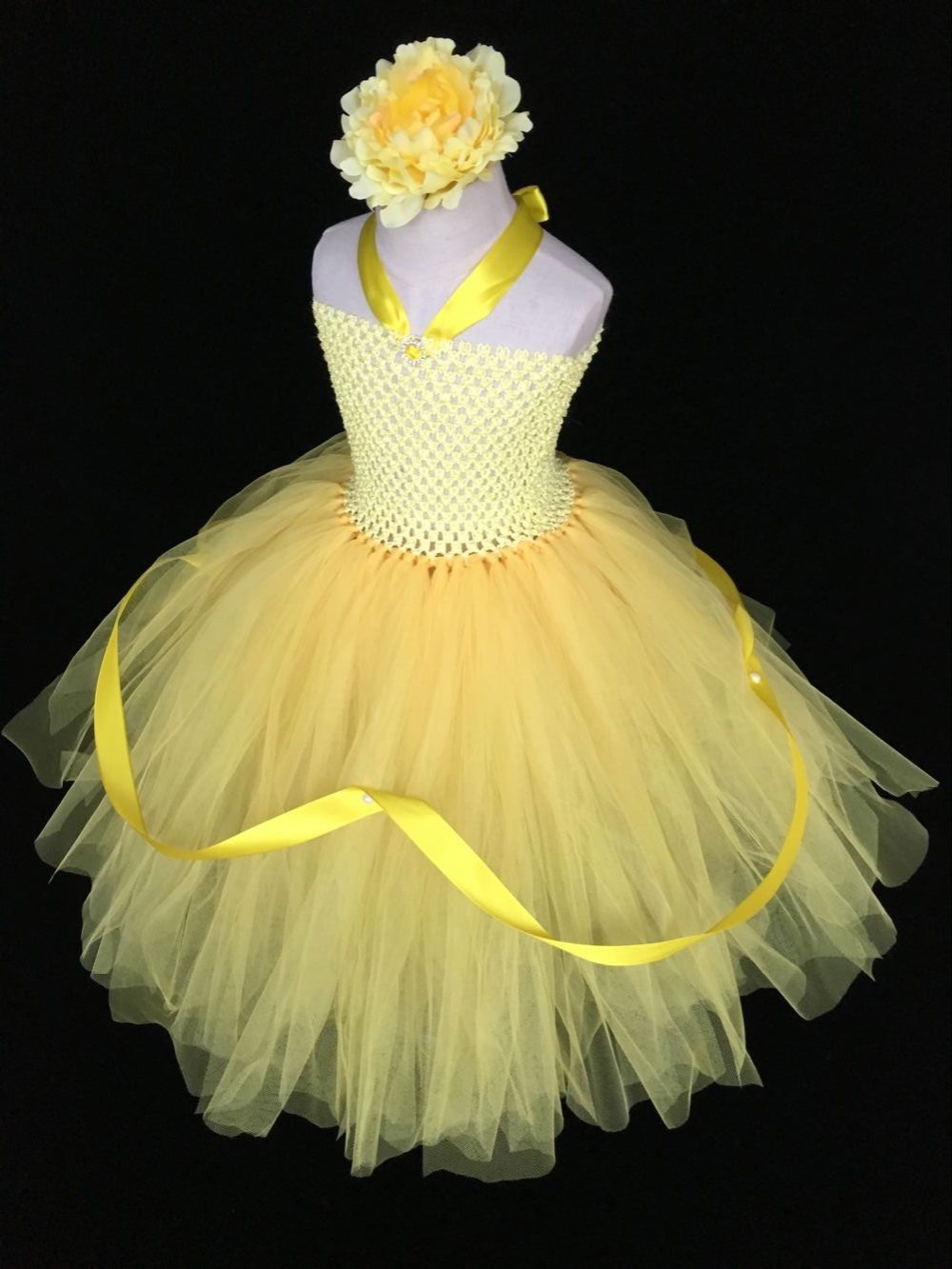 a528ef341e0e5 Baby Girls Orange Flower Tutu Dress Kids Crochet Tulle Dress Ball ...