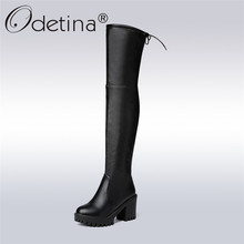 Odetina 2017 Fashion Women Soft Leather Thick High Heel Over The Knee Boots Platform Thigh High Boots Lace Up Sexy Winter Shoes