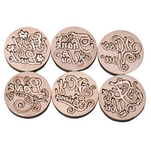 6 Types Blessing Phrases Metal Sealing Wax Clear Stamps Dia 25mm Stamps Wax Seals  Delicate Cuprum Stamps For Kids Adults