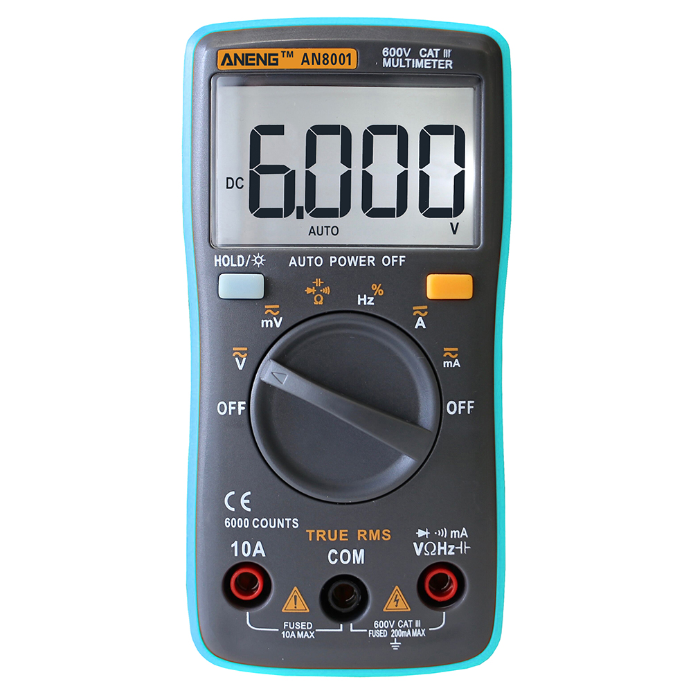 LCD Display Digital Multimeter 6000 Counts Backlight AC/DC Ammeter Voltmeter Ohm Meter Diode and Continuity Testing