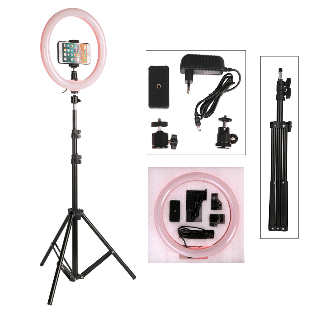 Photography LED Selfie Ring Light 12inch Dimmable Camera Phone Ring Lamp With 160CM Stand Tripods For