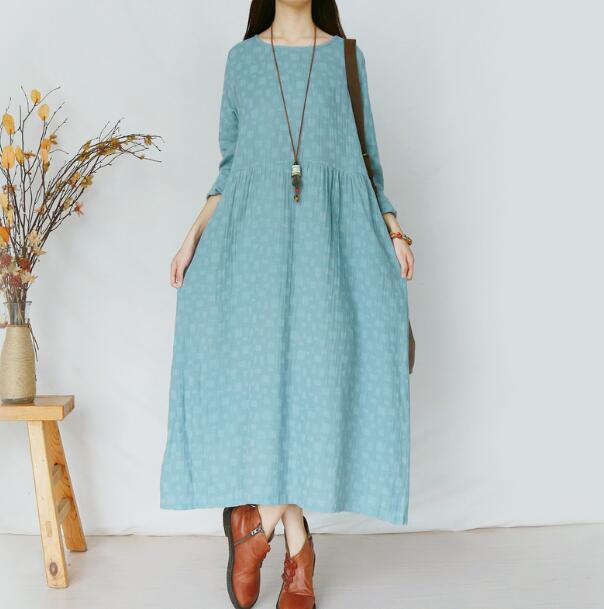 Jacquard solid literary full long sleeve cotton linen dress