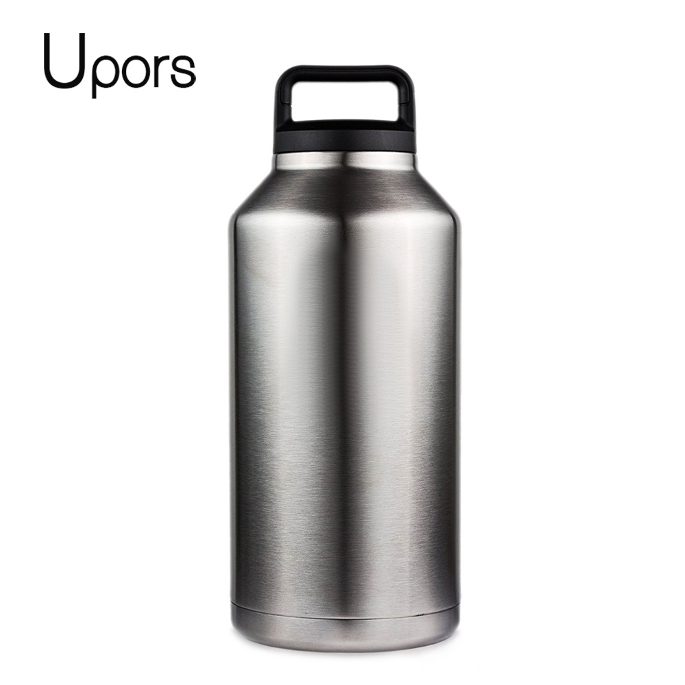 UPORS 64OZ 304 Stainless Steel Water Bottle Double Wall Vacuum Beer Kettle Flasks With Handle Outdoor Camping Sport Bottle