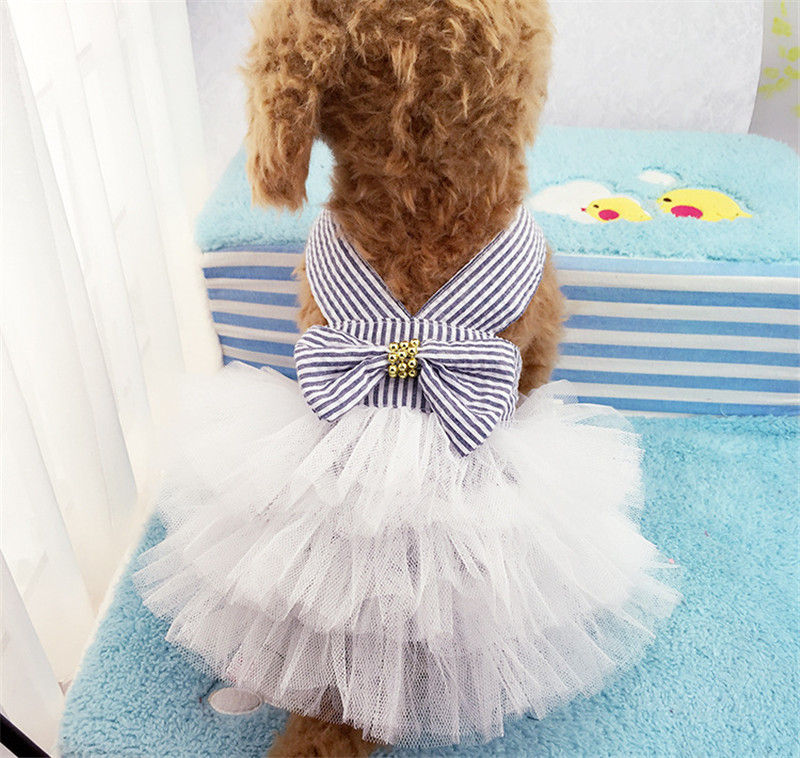 2019 Pet Clothes Sweet Bowknot Small Dog Skirt Girl Tutu Clothing Puppy Cat Sleeveless Apparel Teddy Clothes Harness AprT3 (8)