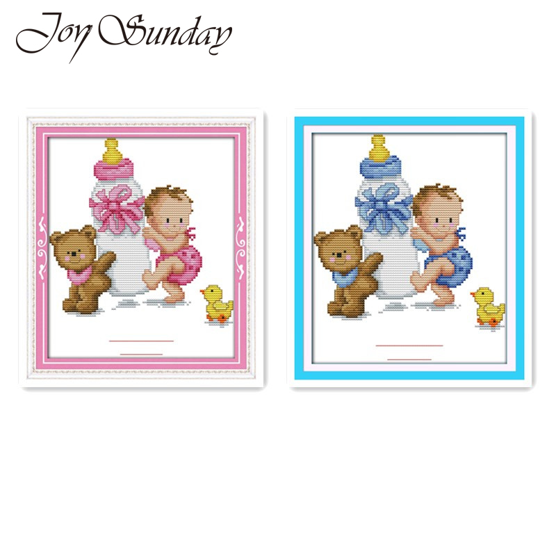 Cute Cartoon Patterns Bottle Baby Naissance Certificate Blue Pink Cross Stitch Kit Embroidery Painting Baby Bedroom Decoration