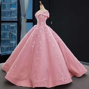 Image 3 - J66590 jancember אפליקציות ורוד מתוקה Quinceanera שמלות 2020 כבוי כתף כדור שמלות קצר שרוול