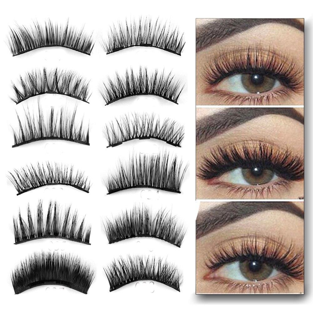 1 Set 007 Triple Magnetic False Eyelashes Makeup Extension Tools Full Coverage Glue Free