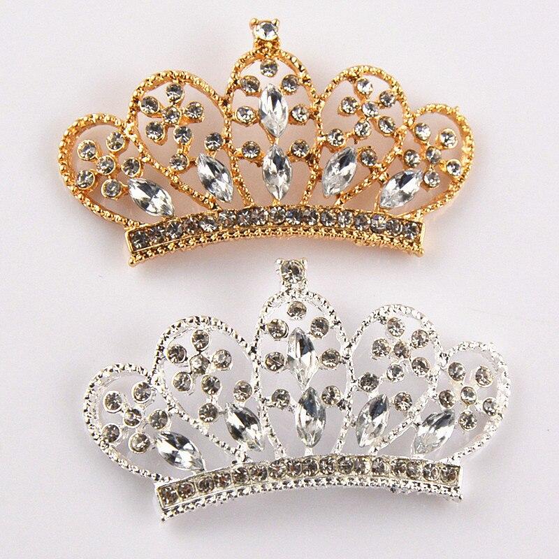 20pcs/lot 6 Color U Pick 50mm Bling Bling Alloy Metal Rhinestone Crown Button Flatback DIY Hair Jewellery Making PJ21