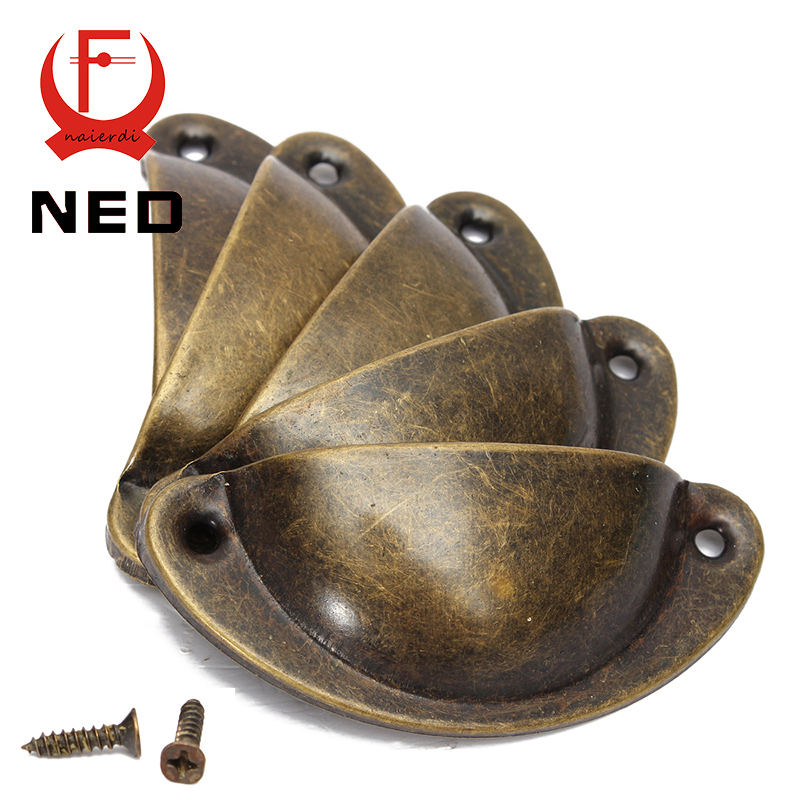 NED 20PCS Retro Metal Kitchen Drawer Cabinet Door Handle And Furniture Knobs Hardware Cupboard Antique Brass Shell Pull Handles
