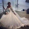 Урожай 2015 Плюс Размер С Плеча Бальное платье Кружева Свадебное платье платья С Длинным Рукавом Свадебные Платья Платье de Novia Casamento A12