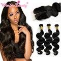 Wonder beauty cabelo vrigin brasileira 7a onda do corpo brasileiro com fecho de 3 pacotes weave brasileiro do cabelo humano com lace closure