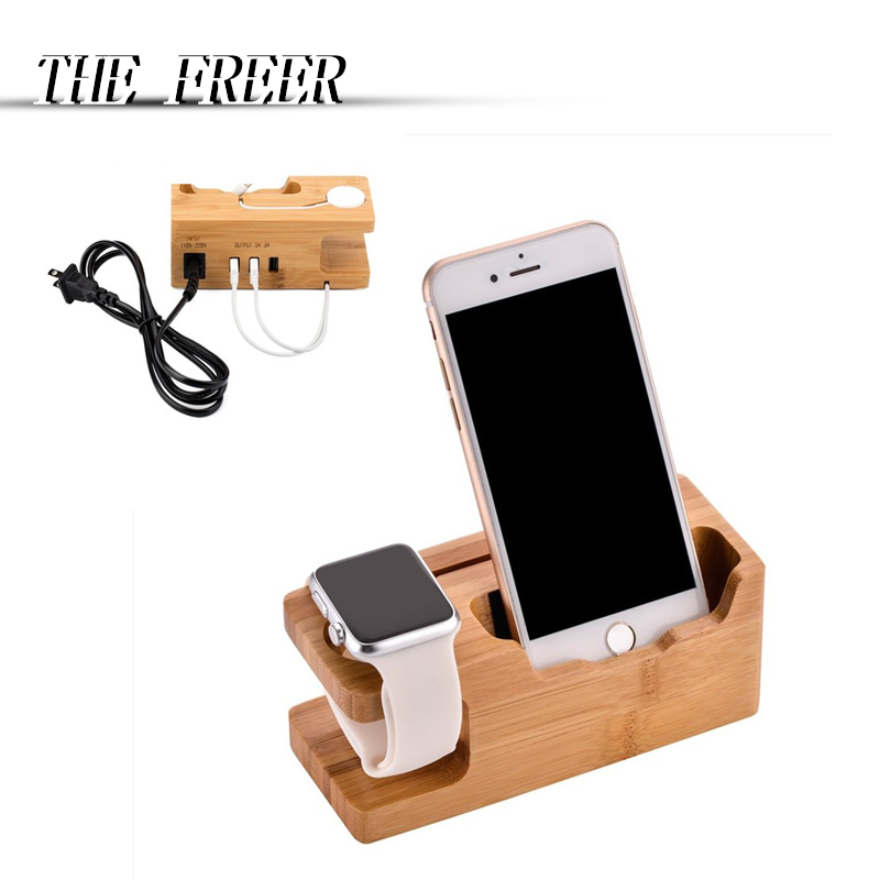 3 Port USB Charger with Apple Watch Phone Organizer Stand,Cradle Holder Desktop Bamboo Wood Charging Station for iwatch band