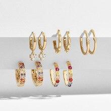 Fashion Multicolor Rhinestone Round Hoop Earring Set for Women Girls Bohemia Gold Small Earring Wedding Jewelry Gift 5 Pair/Set