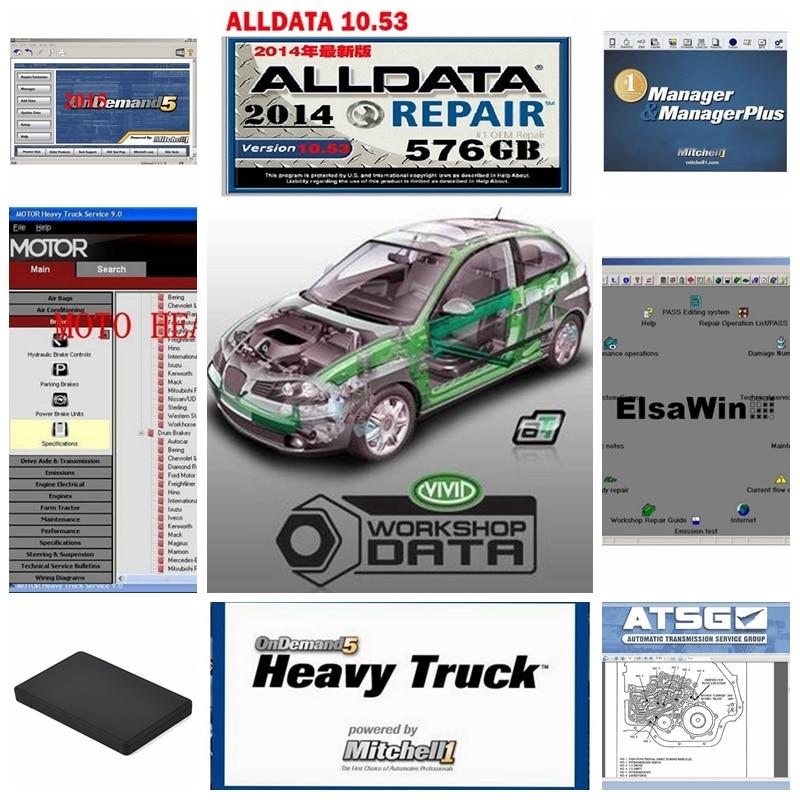 Alldata 50 logiciel en 1 to HDD réparation automatique 2018 chaud v10.53 toutes les données mitchell ondemand vive atelier données atsg Elaswin disque dur