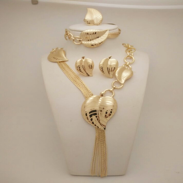 De alta qualidade perder conjunto de jóias charme Dubai banhado a ouro na moda clássico subiu figurinos conjunto de jóias para as mulheres da moda