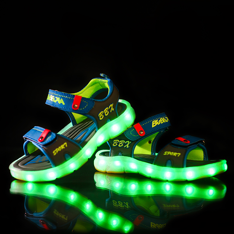 Children Led Sandals Shoes USB Led Light Kid Sandals Boys And Girls Fashion Hook And Loop PU Leather Golden Children Beach Shoes