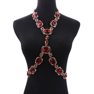 Image 1 - Bohomian Green Crystal Body Necklace Women Body Jewelry Waist Chain Necklace Femme Big Choker Maxi Statement Necklace For Women