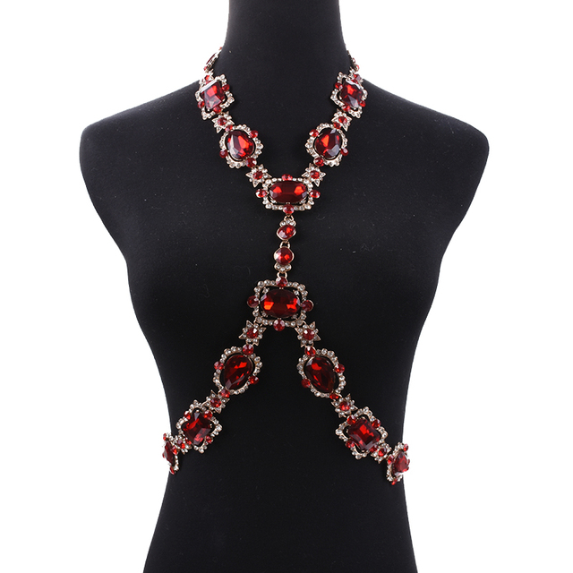Bohomian Green Crystal Body Necklace Women Body Jewelry Waist Chain Necklace Femme Big Choker Maxi Statement Necklace For Women