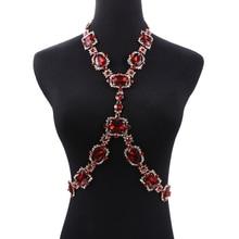 Czeski zielony kryształowe Body naszyjnik kobiety biżuteria do ciała talii łańcucha naszyjnik Femme duży Choker Maxi komunikat naszyjnik dla kobiet