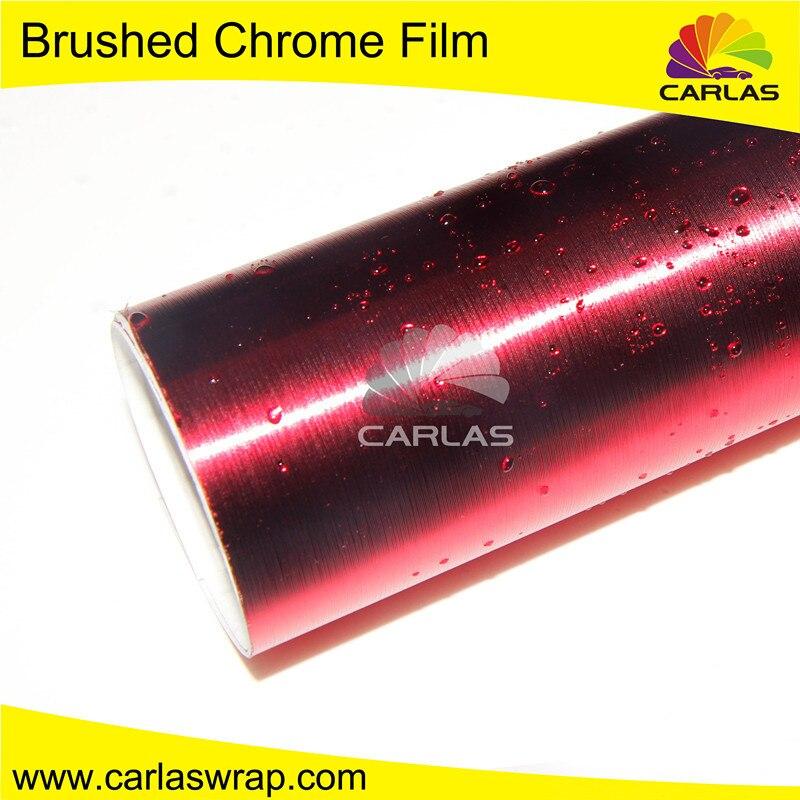1.52 m * 20 m enveloppe métallique rouge brossé avec housse de voiture en vinyle entier