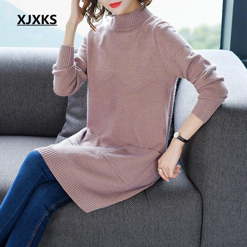 Maglioni High Lunghi Visone Xjxks Lavorato E Vestito Donne Delle  Abbigliamento Rosa colore end Maglione arancione ... 3721dfab328