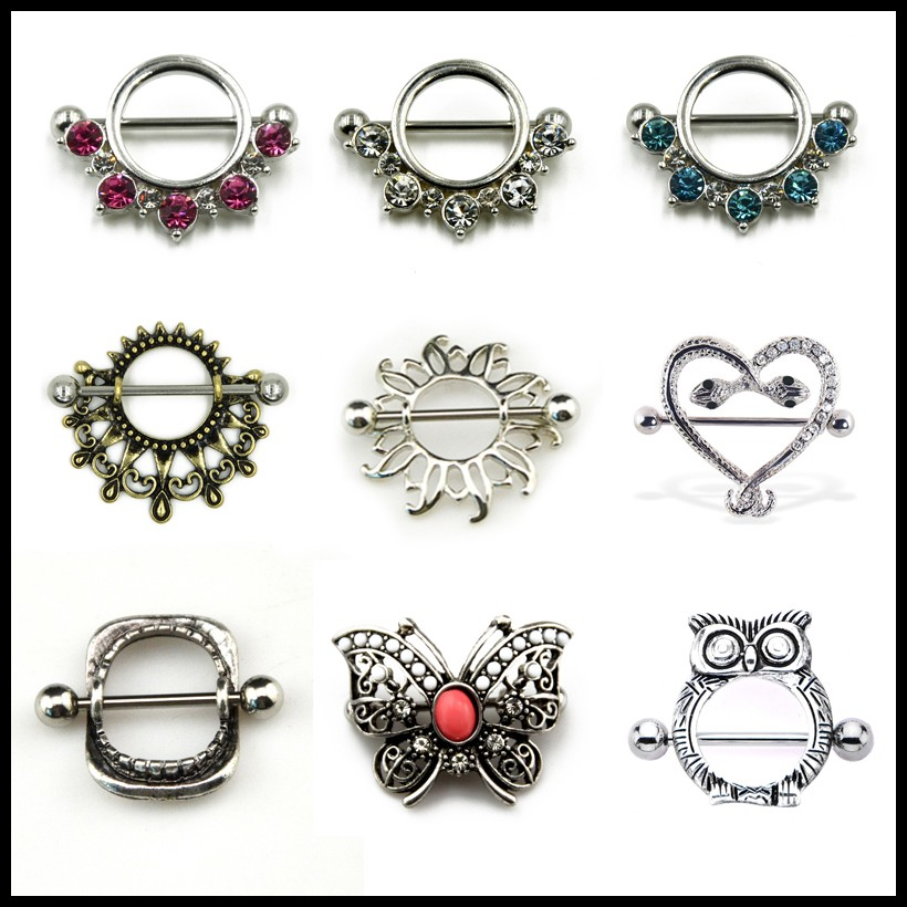 Pair 316l Surgical Steel Crystal CZ Gem Owl,Snake,Butterfly Logo Tribal Nipple Piercing Shiled Rings Nipple Barbell Body Jewelry(China)