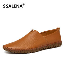 Men Comfortable Leather Casual Flat Shoes Mens Slip On Handmade Soft Sole Shoes Breathable Wear-Resistant Boat Shoes AA11572