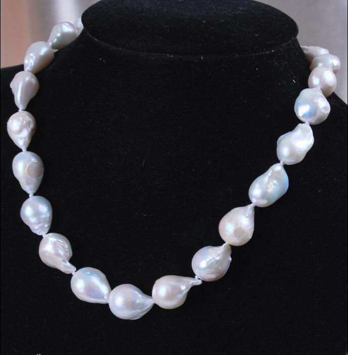 Hot sale new Style >>>>>Rare Pretty 15-25mm baroque white freshwater pearl necklace 18''