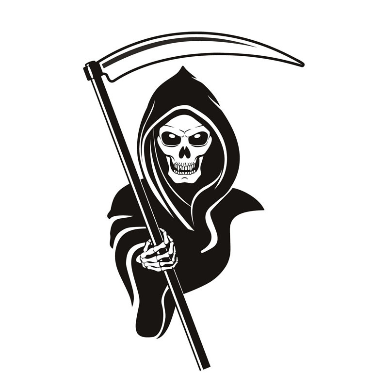 Office Decorative Grim Reaper Wall Sticker Skull PVC Design Removable Self Adhesive Wall Decal