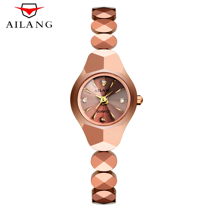 AILANG New Fashion Women Small Dial Luxury Brand Quartz Watch Waterproof 50M Tungsten Steel Rose Gold Watches Bracelet Women guanqin fashion women watch gold silver quartz watches waterproof tungsten steel watch women business bracelet gq30018 b