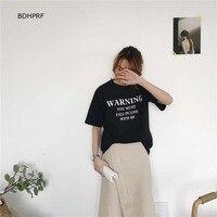 Sommer Mädchen T-shirts Neue Korea Stil Kurzarm Brief Drucken Casual Frauen t-shirt Schwarz Weiß O Hals Damen Tops 2018