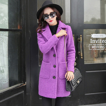 Woolen Jacket Female New Thick Outwear Autumn Winter Wool Coat Women Abrigo Mujer Single-Breasted Parka Long Wool Overcoat C3458