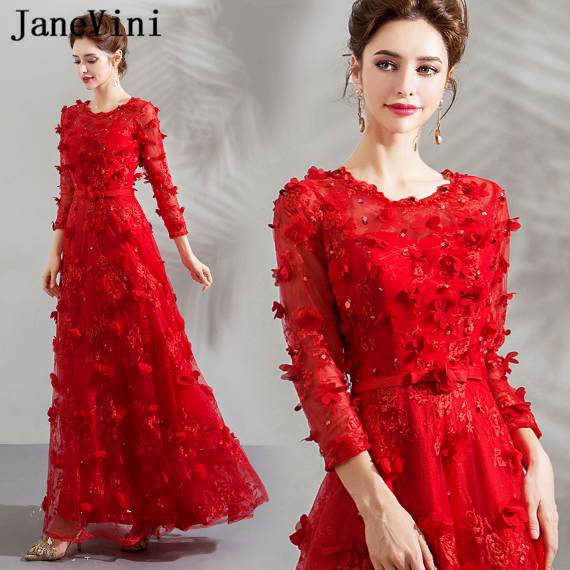 JaneVini Charming Red Arabic 3D Flowers Beaded Long   Bridesmaid     Dresses   A Line Zipper Back Floor Length Lace Formal Prom Gowns