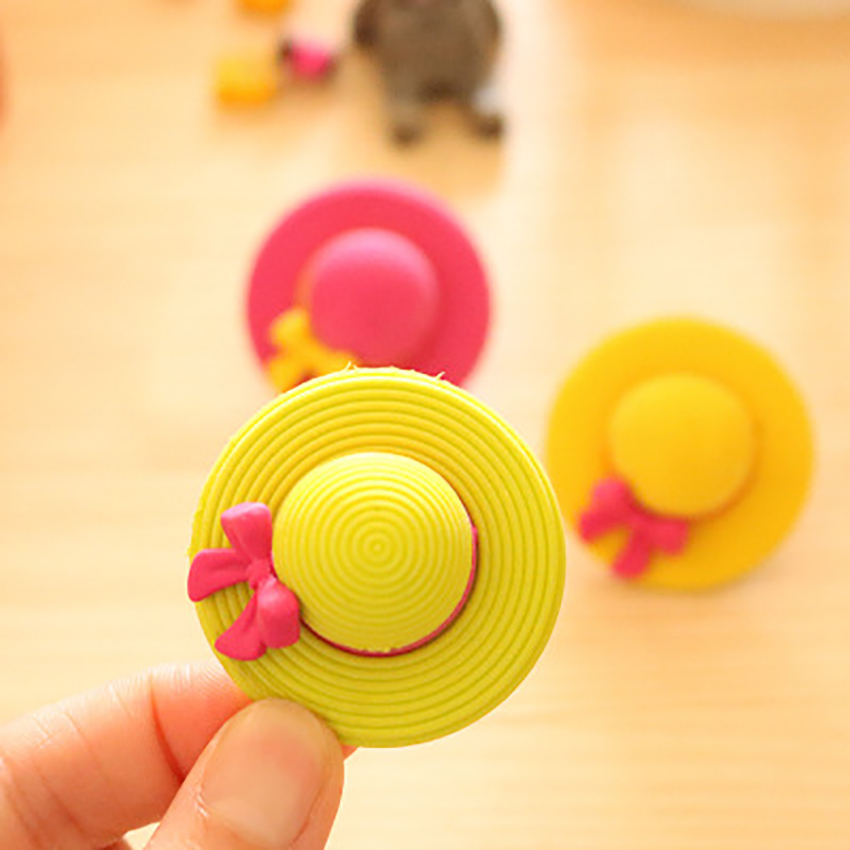 Creative Candy Color Girl Sun Hat Eraser Adorable Collection Pencil Erasers For Kids Gift Novelty Erasers For Classroom Rewards