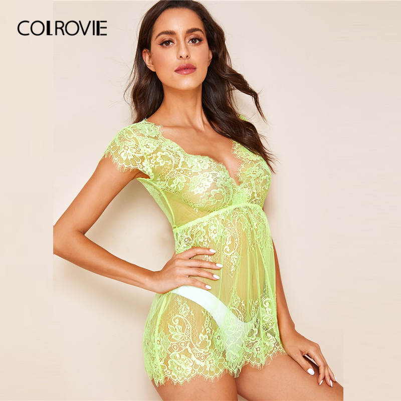 Image 3 - COLROVIE Neon Lime Floral Lace Dress With Thong Women V Neck Solid Sheer Babydolls 2019 Summer Sexy Night Dress-in Nightgowns & Sleepshirts from Underwear & Sleepwears
