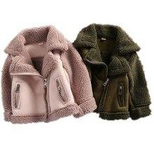 Abrigos de invierno para niñas y niños, chaquetas de forro polar de piel, prendas de vestir, Unisex, 7CT069